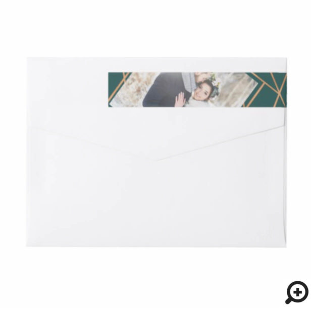 Mr & Mrs Christmas | Modern Copper Geometric Photo Wrap Around Label