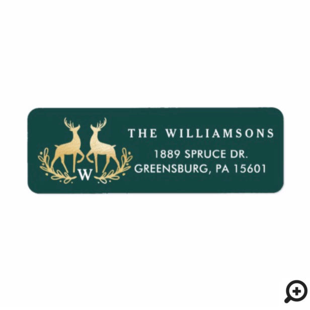 Forest Green & Gold Reindeer Monogram Family Crest Label