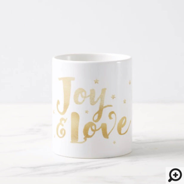 Joy & Love | Elegant Handwriting Holiday Stars Coffee Mug