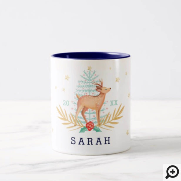 Midnight Woodland Forest Reindeer & Christmas Tree Two-Tone Coffee Mug