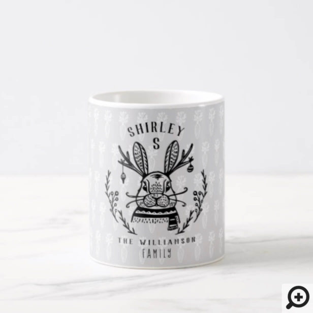 Festive Holiday Bunny Etching Family Monogram Coffee Mug