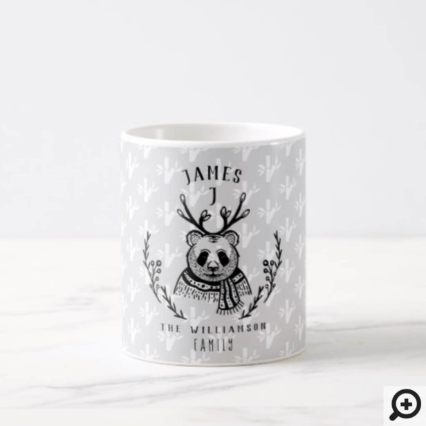 Festive Holiday Panda Bear Etching Family Monogram Coffee Mug