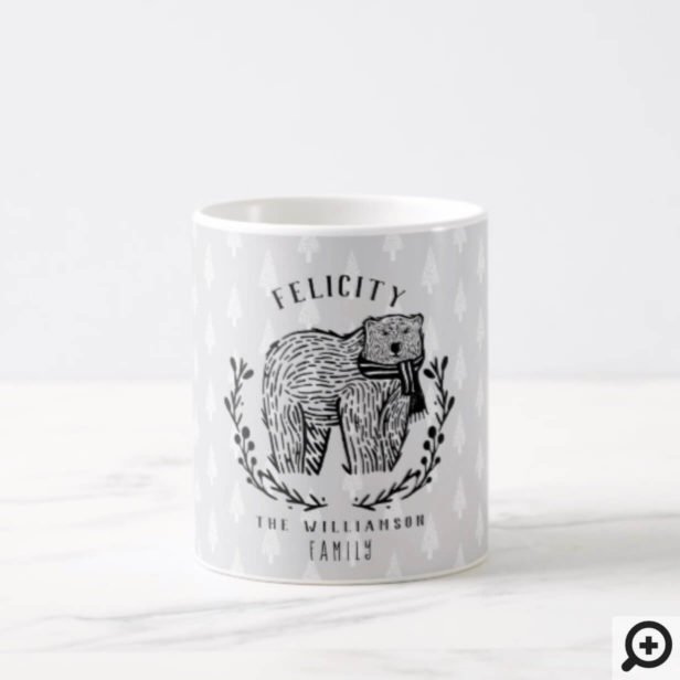 Festive Holiday Polar Bear Etching Family Monogram Coffee Mug