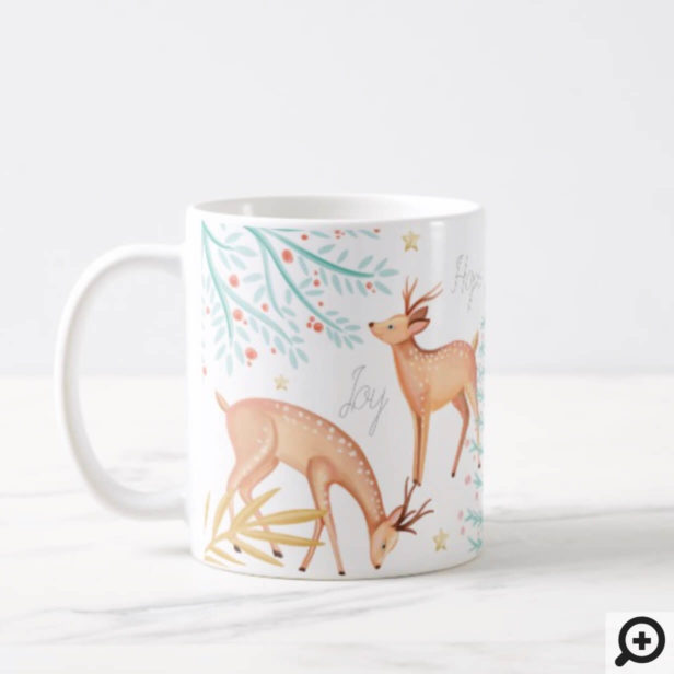 Woodland Forest Reindeer & Christmas Tree Scene Coffee Mug