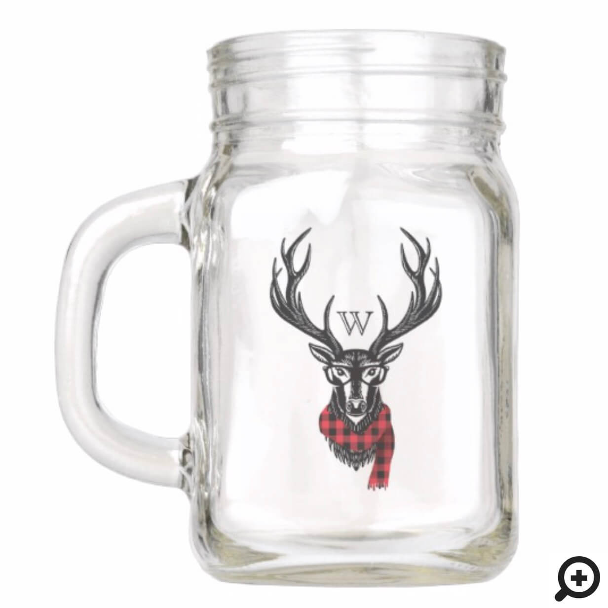 Cozy & Warm | Red Buffalo Plaid Reindeer Monogram Mason Jar