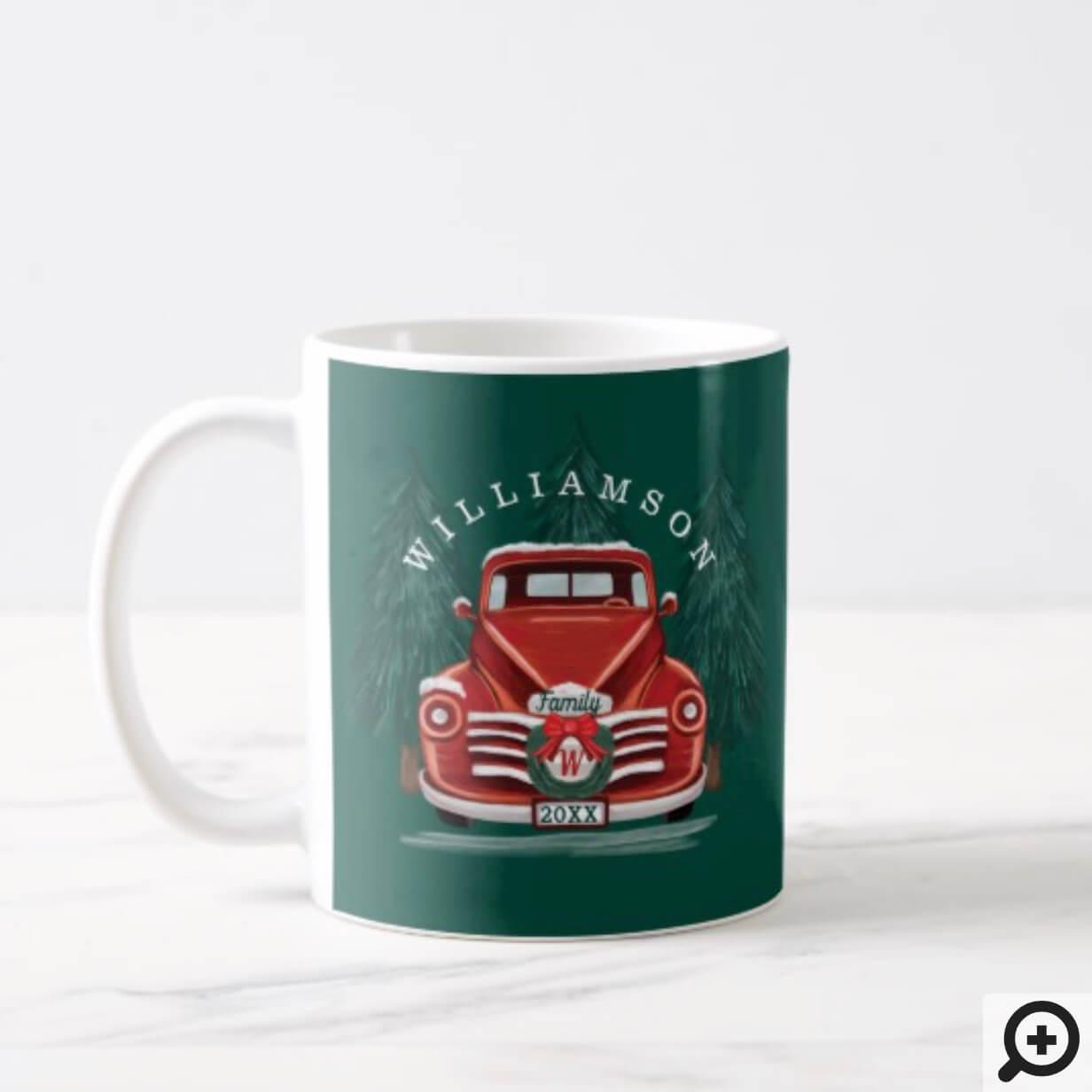 Merry Christmas Vintage Red Truck Christmas Tree Coffee Mug