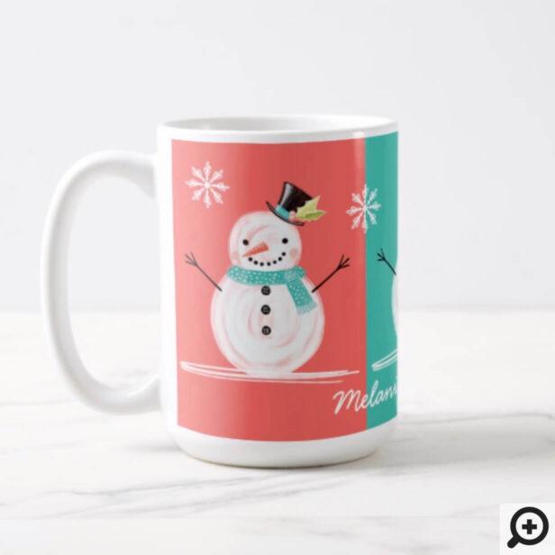 Colourful Jolly Snowman Christmas Winter Scenery Coffee Mug