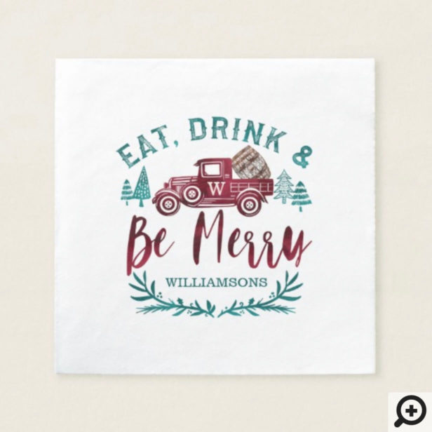 Eat Drink & Be Merry Red Vintage Truck Wine barrel Napkin