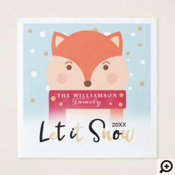 let it Snow | Cute Winter Woodland Fox Napkin