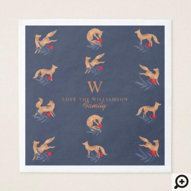 Winter Forest Foxes & Festive Foliage Monogram Napkin
