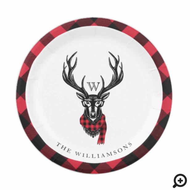 Cozy & Warm | Red Buffalo Plaid Reindeer Monogram Paper Plate