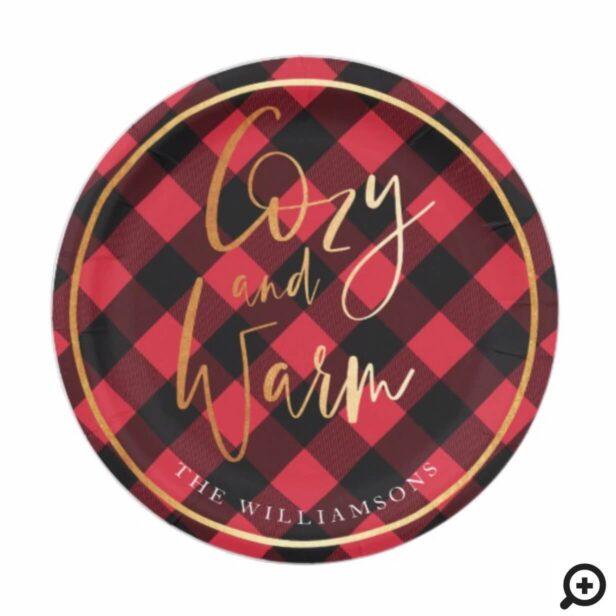 Cozy & Warm Script | Red Buffalo Plaid Christmas Paper Plate