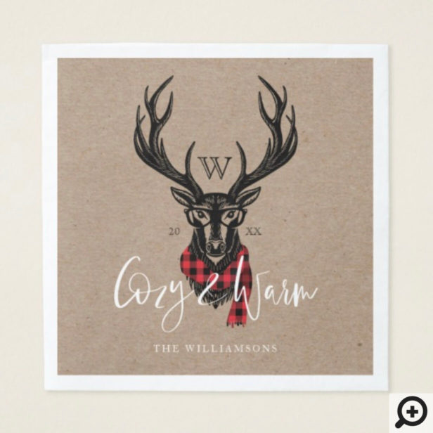 Cozy & Warm | Red Buffalo Plaid Reindeer Monogram Napkin