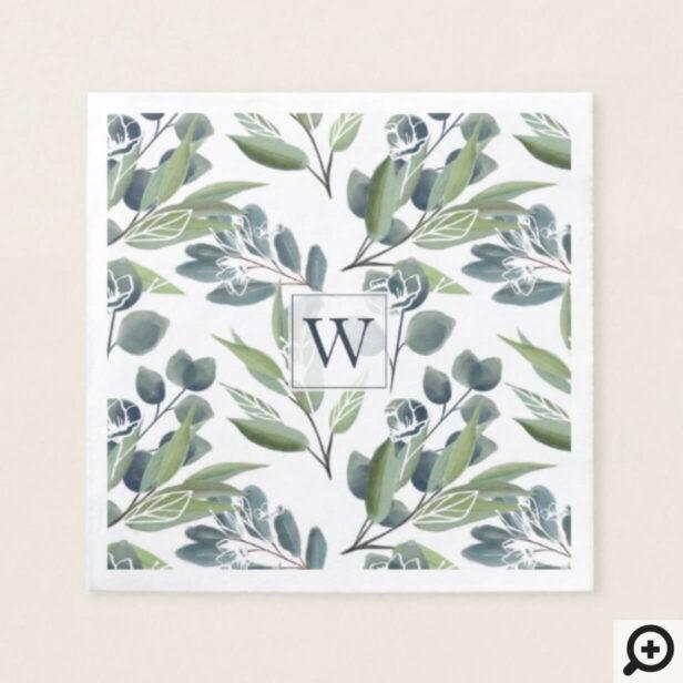 Monogram Inital Elegant Watercolor Winter Foliage Napkin