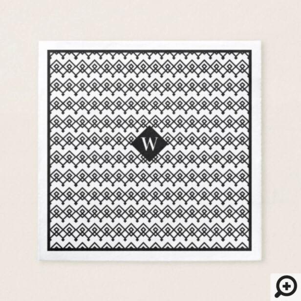 Black & White Trendy Geometric Pattern Monogram Napkin