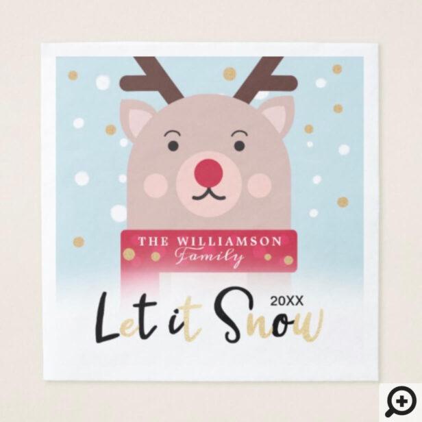 let it Snow   Cute Winter Woodland Reindeer Napkin