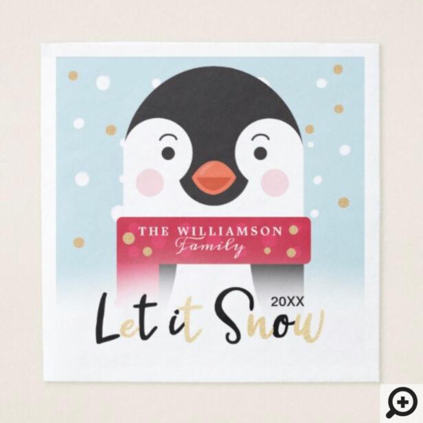 let it Snow   Cute Winter Arctic Penguin Napkin