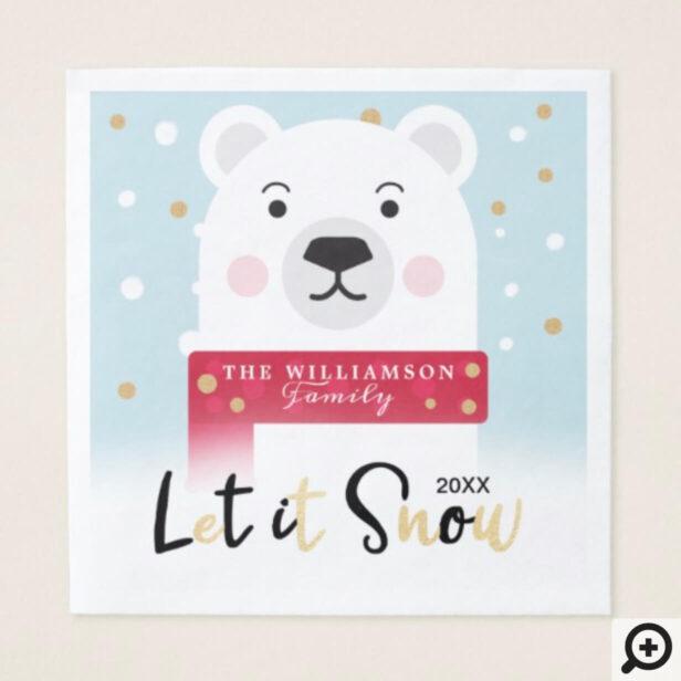let it Snow   Cute Winter Polar Bear Illustration Napkin