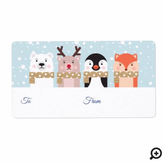 To & From Reindeer, Polar Bear, Penguin & Fox Label