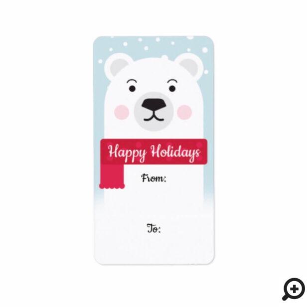 Happy Holidays | Cute Polar Bear Character Label