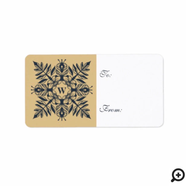 Elegant Leaf Foliage Flower Snowflake Monogram Label
