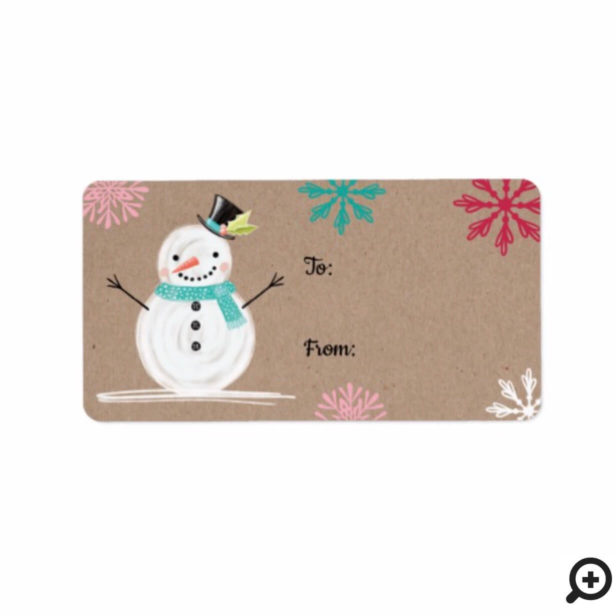 To & From Jolly Snow Man & Snowflakes Label