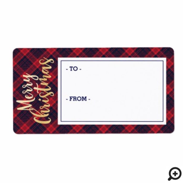 Merry Christmas Navy & Red Plaid Sticker Gift Tag