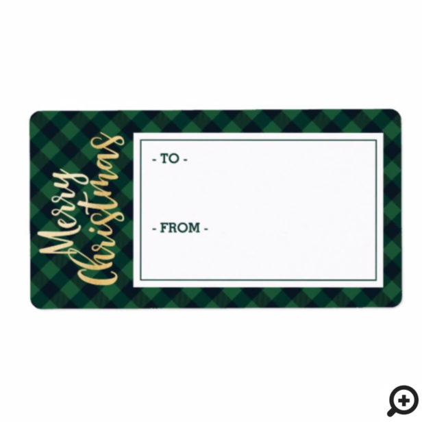 Merry Christmas Green Buffalo Plaid Sticker Tag