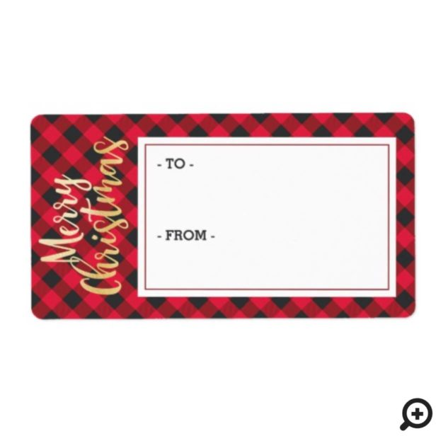 Merry Christmas Red Buffalo Plaid Sticker Gift Tag