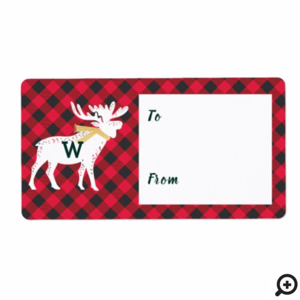 Red Buffalo Plaid Moose Monogram Christmas Label