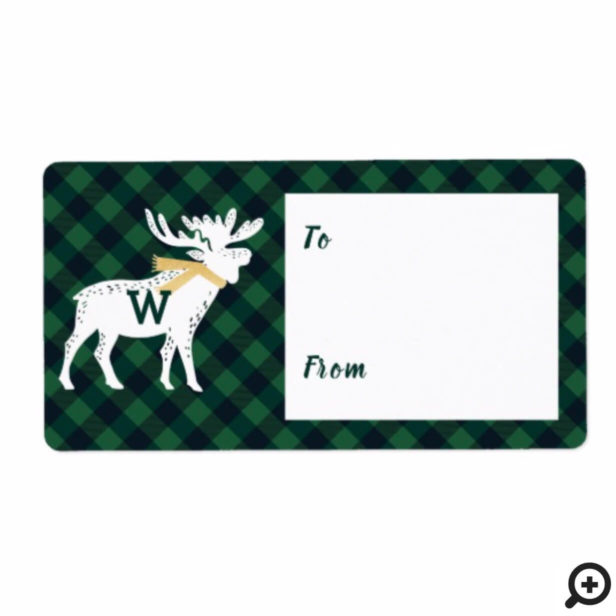 Green Buffalo Plaid Moose Monogram Christmas Label