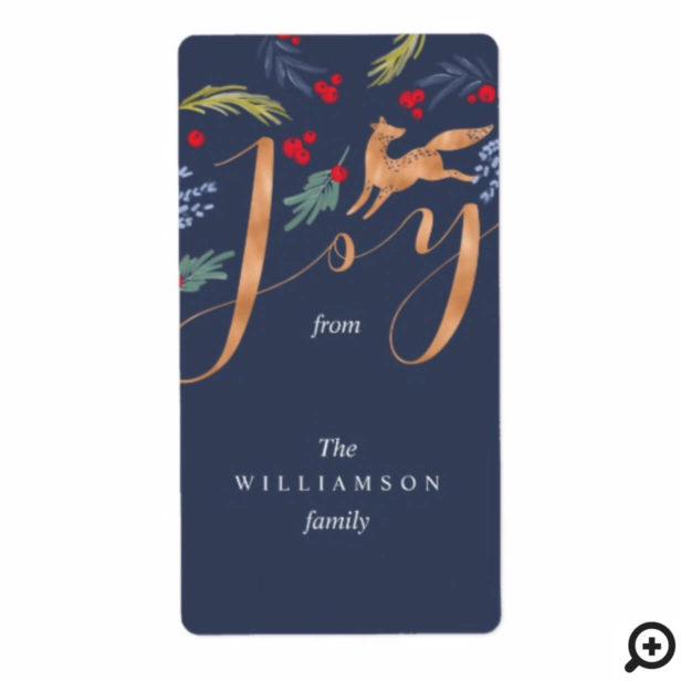 Joy | Artistic Woodland Fox & Holiday Greenery Label