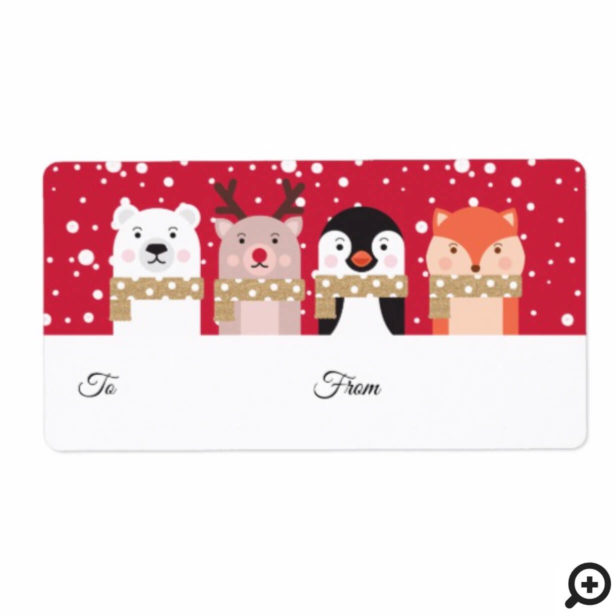 To & From Reindeer, Polar Bear, Penguin & Fox Label