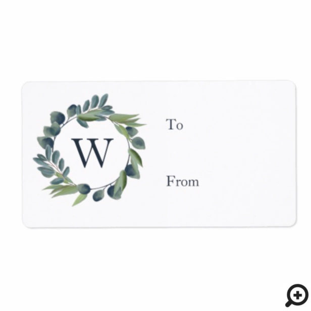 Elegant Watercolor Winter Foliage Wreath Monogram Label