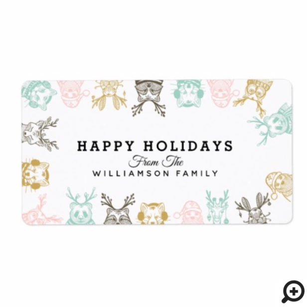 Modern Etched Style Woodland Animals Christmas Label