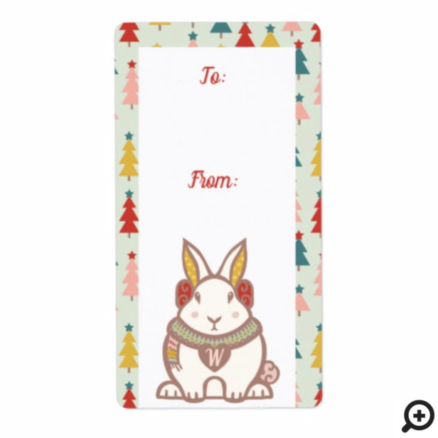 To & From Woodland Forest Bunny Rabbit Christmas Label
