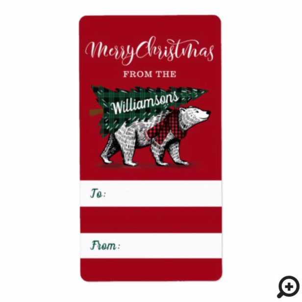 Merry Christmas Polar Bear Delivery Gift Label
