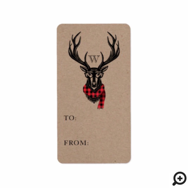 Cozy & Warm | Red Buffalo Plaid Reindeer Monogram Label