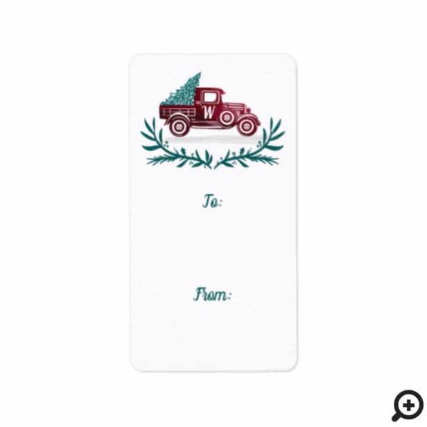 Vintage Red Truck Christmas Tree Monogram Gift Label