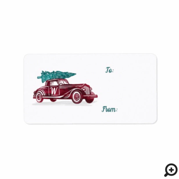 Vintage Red Car Christmas Tree Monogram Gift Label