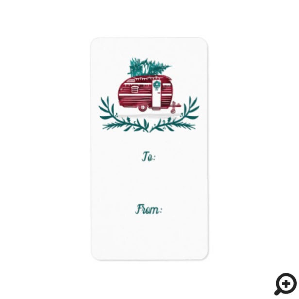Vintage Red Camper Christmas Tree Monogram Gift Label