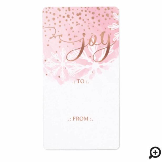 Joy | Pink Blush Watercolor Ombre Wash Snowflakes Label