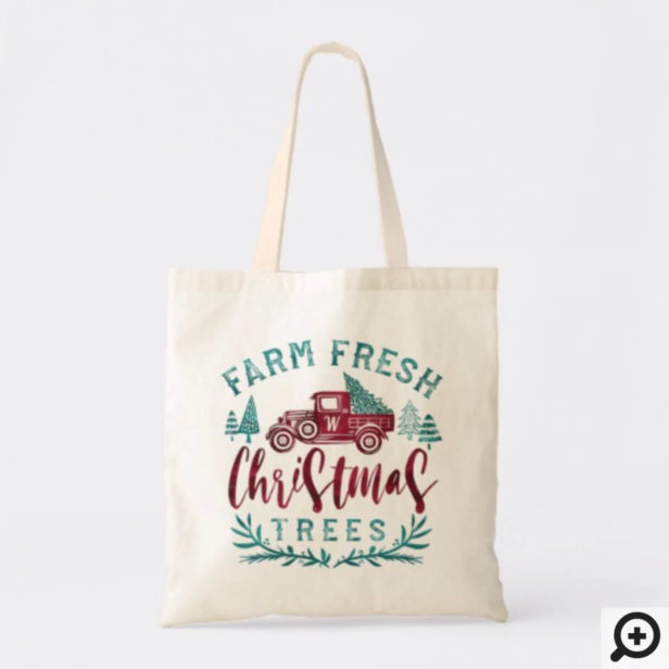 Farm Fresh Vintage Truck Christmas Tree Delivery Tote Bag