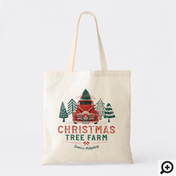 Large Fresh Christmas Tree Farm Vintage Truck Tote Bag