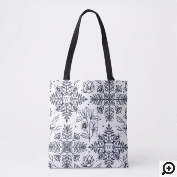 Elegant Modern Vintage Winter Foliage Snowflake Tote Bag