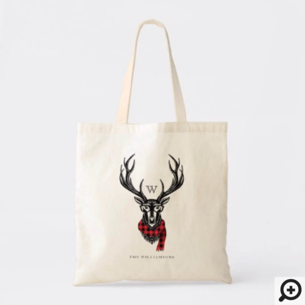 Cozy & Warm | Red Buffalo Plaid Reindeer Monogram Tote Bag