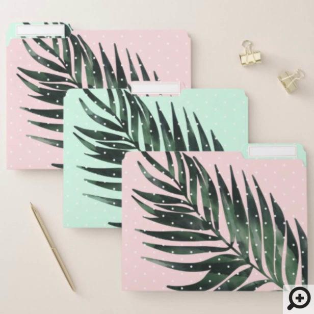 Bold Modern Pink & Green Tropical Palm Tree Leaves File Folder