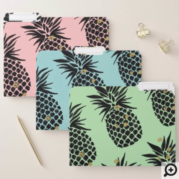 Pink, Blue, green Tropical Pineapple Fruit Pattern File Folder