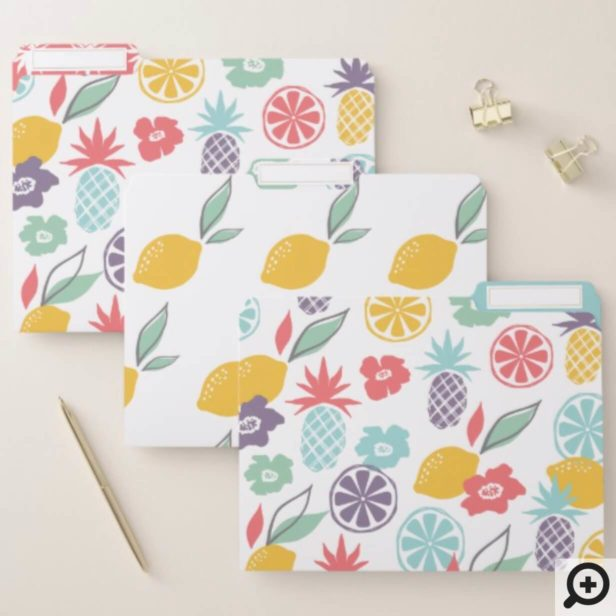 Colourful Modern Tropical Citrus Pineapple Pattern File Folder