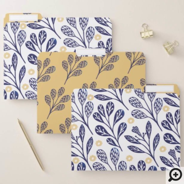 Modern Vintage Navy Blue & Yellow Floral Branches File Folder
